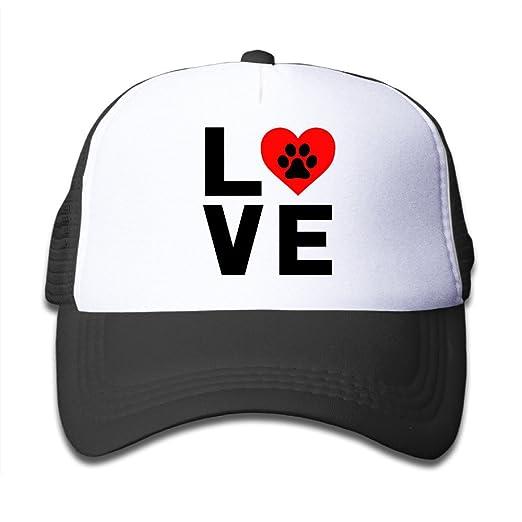 59d65e7cb7d Amazon.com  Youth Animal Lover Dog Paw Print Mesh Fishing Cap Hats ...