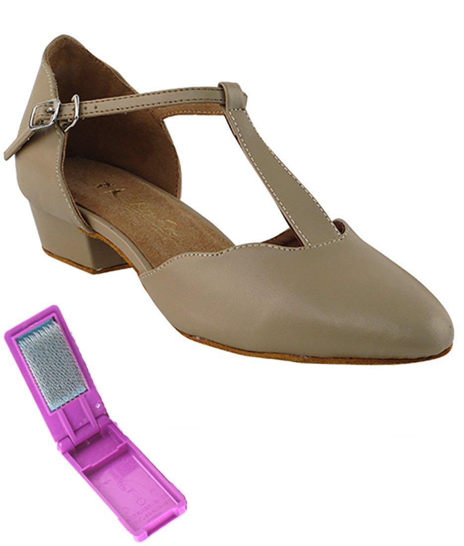 Very Fine Ballroom Salsa Practice Dance Shoes for Women 6819FT 1-inch Heel + Foldable Brush Bundle - Tan Leather - 6.5