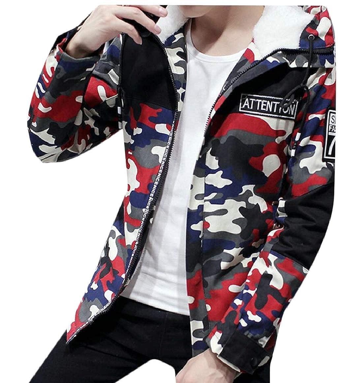 pujingge Mens Winter Camo Padded Fleece Lined Hooded Trench Coat Jacket Outwear