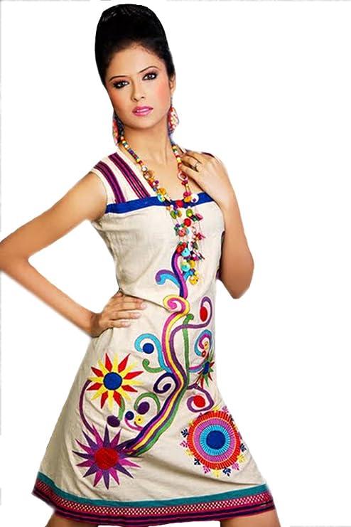 1545 Designs Mujer Tamaño Petite algodón Blanco Bordado Vestido sin Mangas (46): Amazon.es: Ropa y accesorios