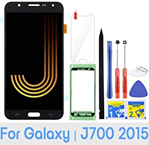 iFixmate LCD Screen Replacement for Samsung Galaxy J7 2015 J700 J700T J700F J700H J700M SM-J700 LCD Touch Screen Digitizer Glass Display Assembly with Repair Tools and Adhesive (Black)