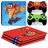 Cheap ZoomHit Ps4 PRO Playstation 4 PRO Console Skin Decal Sticker Crash Bandicoot + 2 Controller Skins Set (Pro Only)