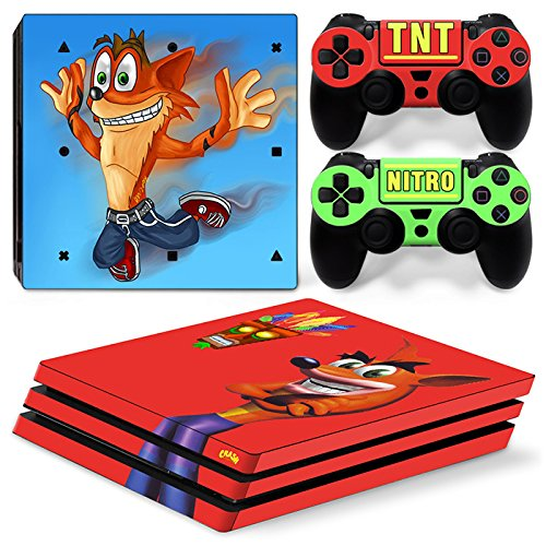 ZoomHit Ps4 PRO Playstation 4 PRO Console Skin Decal Sticker Crash Bandicoot + 2 Controller Skins Set (Pro Only)