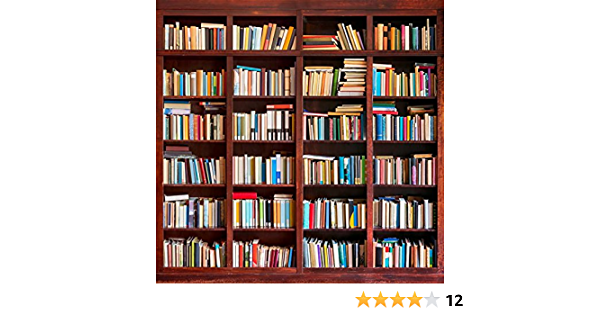 LYWYGG 8x6FT Bookshelf Backdrop Bookcase Backdrops Library Backdrop Office Backdrop for Video Conference Vintage Party Background Books CP-259-0806