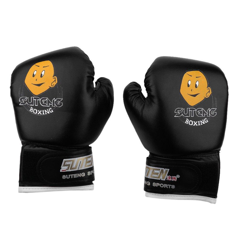 GLOGLOW 3色 PUキッズボクシンググローブ 子供用 カートゥーン 総合格闘技 スパーリングトレーニンググローブ ムエタイ スパーリングトレーニンググローブ B07G18YV89 ブラック