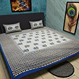 Traditional Mafia Ethnic Collection 100Percent pure Cotton Printed double Bedsheet with 2 pillow Covers, King, Blue