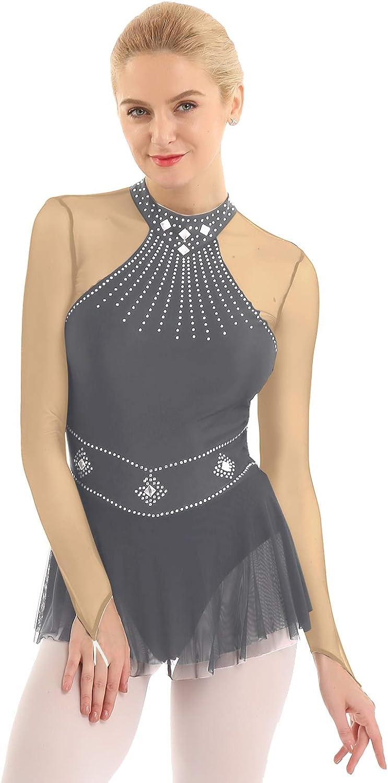 iEFiEL Donna Vestito da Balletto e Pattinaggio Artistico Body da Ginnastica Artistica Abito da Ballo Leotard da Danza Dancewear per Saggio Competizione Performance