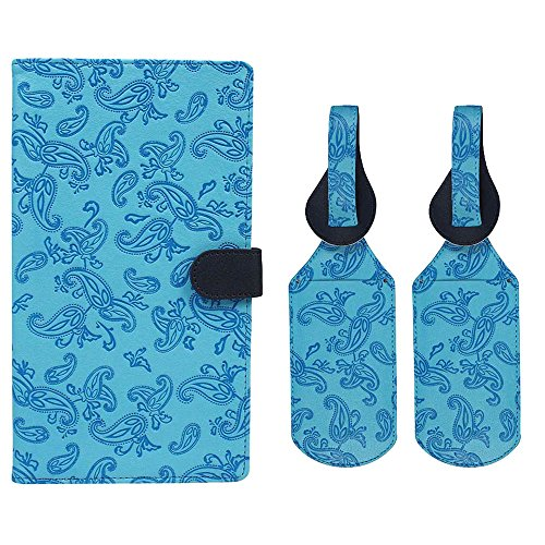 JAVOedge Blue Embossed Paisley Long RFID Blocking Snap Closure Passport Case with Pen Holder and 2 Matching Luggage ()