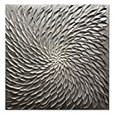 Amei Art Paintings, 24X24 Inch Paintings Oil Hand Painting 3D Hand-Painted On Canvas Abstract Artwork Art Wood Inside Framed Hanging Wall Decoration Abstract Painting (Silver)