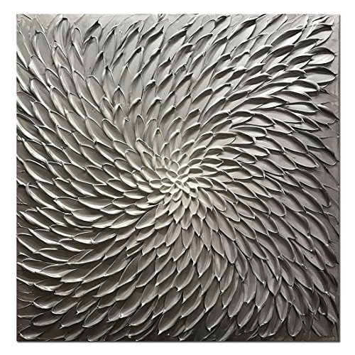 Amei Art Paintings, 24X24 Inch Paintings Oil Hand Painting 3D Hand-Painted On Canvas Abstract Artwork Art Wood Inside Framed Hanging Wall Decoration Abstract Painting (Silver) by Amei