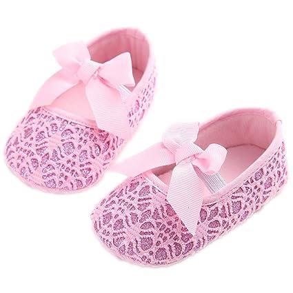etrack-online purpurina zapatos de bebé Zapatillas Suave Antideslizante Suela Infantil Prewalker rosa rosa Talla