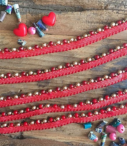Red and Gold Skinny Beaded Trim, beaded trim, beads and embellishments for sewing, sewing trims, beaded trim
