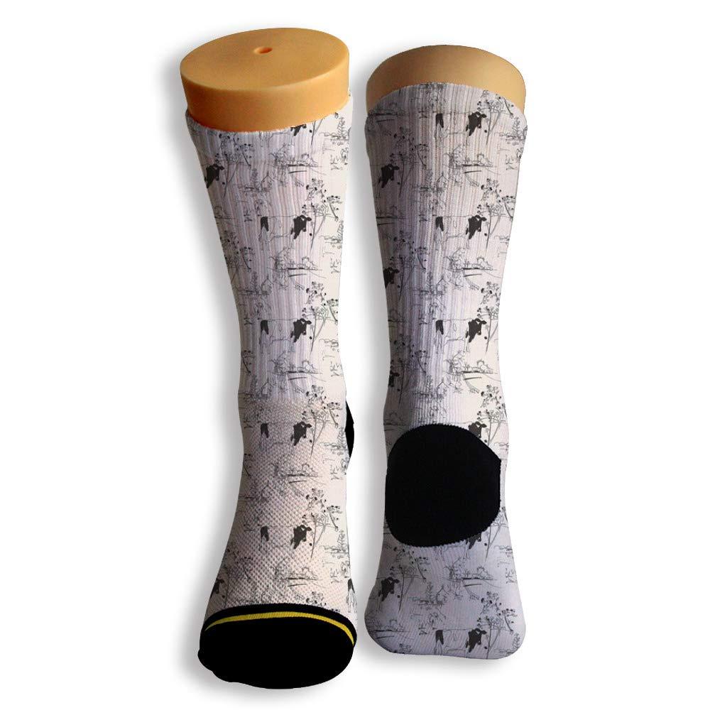 Basketball Soccer Baseball Socks by Potooy Funny Cow Doodle 3D Print Cushion Athletic Crew Socks for Men Women