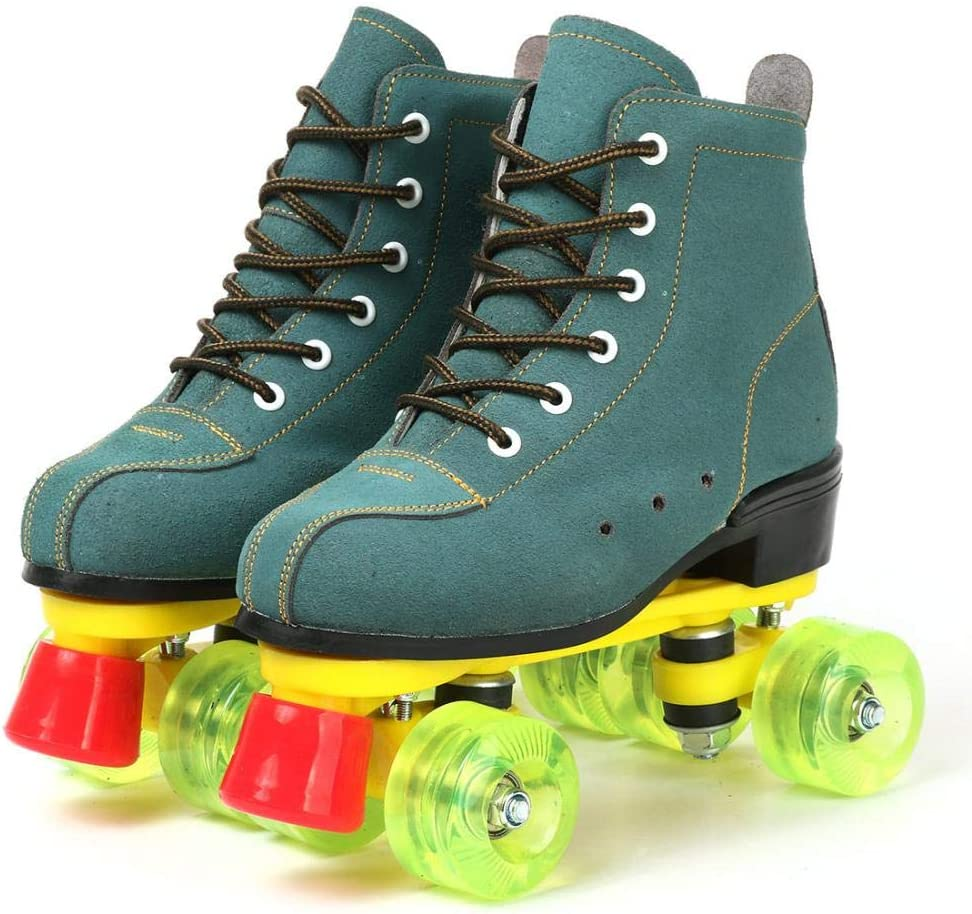 Professional Roller Skates for Women Green PU Leather High-top Roller Skates Double-Row Wheels for Beginner Boys Outdoor with Shoes Bag Indoor Girls