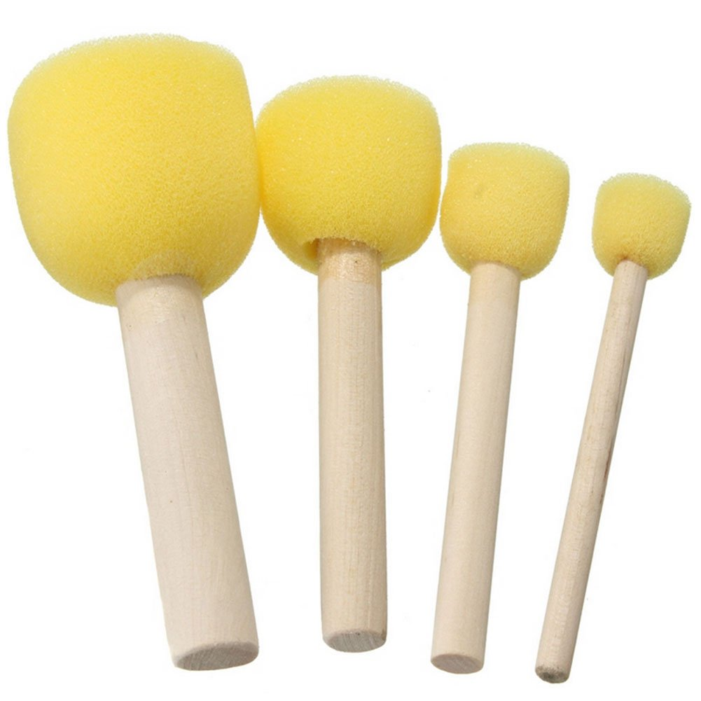 BleuMoo 4Pcs Wooden Handle Stencil Sponge Foam Brush Furniture Craft Art Painting Tool