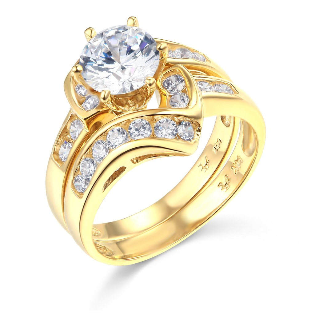 14k Yellow Gold SOLID Wedding Engagement Ring and Wedding Band 2 Piece Set - Size 5.5