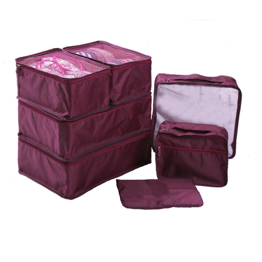 Ewparts 7 Pack de sachets d'emballage de voyage Set, cubes d'emballage Sacs essentiels dans le sac Voyage de stockage imperméable Nylon Drawstring sac sec, pour vêtements Valise Bagages sacs de blanchisserie (Dark blue)
