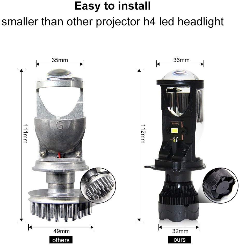 oppulite H4 faros delanteros LED con haz de alta bajo Mini lente ...