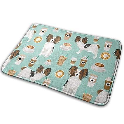 Non Slip Welcome Door Mat Papillon Dog Coffee Mint Fabric
