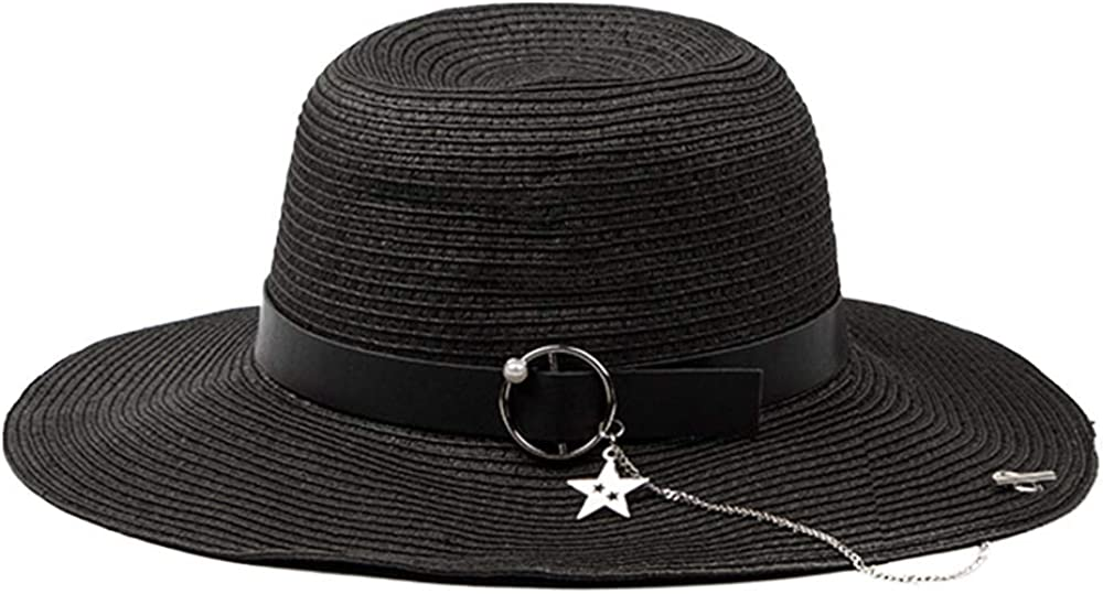 FADVES Women Wide Brim Floppy Sun Hats Summer Beach Straw Hat with Band Packable