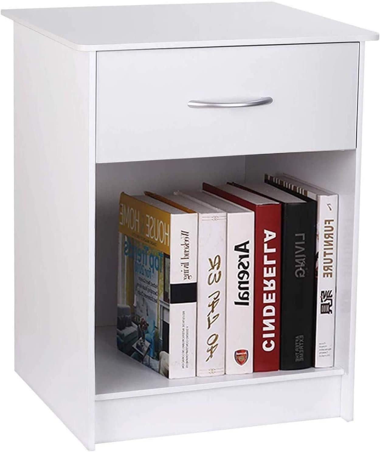 TUSY White Nightstand with Drawer, Bedside Table End Tables Living Room, File Cabinet Storage with Sliding Drawers and Shelf for Home Office