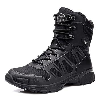 SHANLY Botas De Combate para Hombres Militar Táctico Militar Zapatos Cordones De Seguridad Botas De Policía