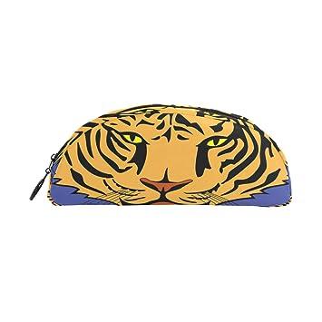 Tiger School - Estuche para lápices de niños, semicircular, gran capacidad, para maquillaje
