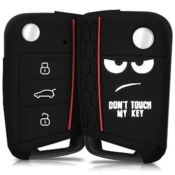 kwmobile Funda para Llave de 3 Botones para Coche VW Golf 7 MK7 - Carcasa Protectora Suave de Silicona - Case de Mando de Auto con diseño Dont Touch ...