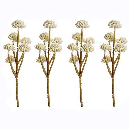 Supla 4 Pcs Artificial Tall Succulents Flower Latex Sedum In Cream