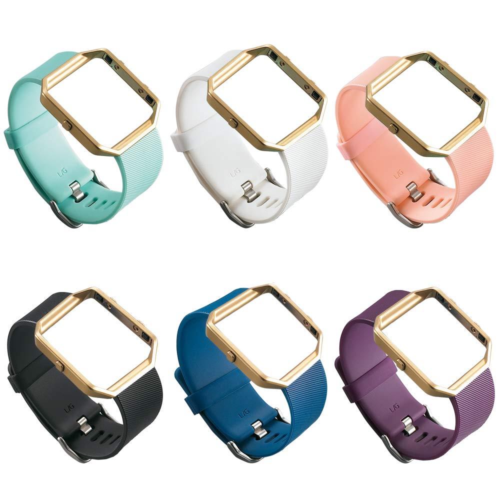UCAI 6色 Fitbit Blazeバンド レディース メンズ 交換用バンド シルバークラスプ付き Fitbit Blazeリストバンド Lサイズ Sサイズ Fitbit Blazeスマートフィットネスウォッチ用 トラッカーまたはフレームなし B076X3T3TL 6点 L