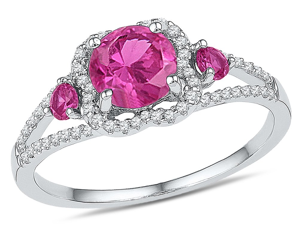 Lab Created Pink Sapphire 1.35 Carat (ctw) Three Stone Ring in Sterling Silver with Accent Diamonds