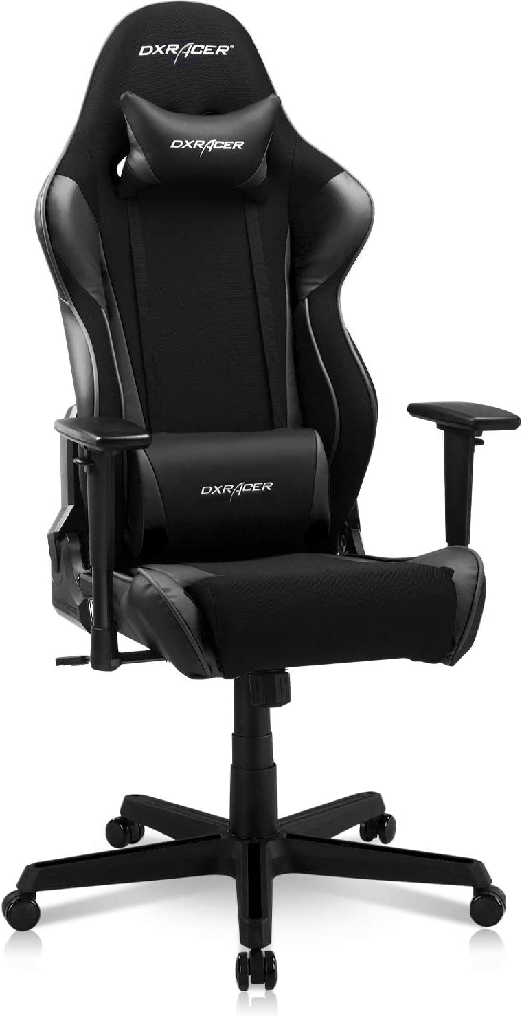 DXRacer Racing Series Gaming Ergonomic Home Office Comfortable Desk Back Computer Chair | Height Swivel, 3D armrest, Strong Mesh and PU Leather, Standard, Black