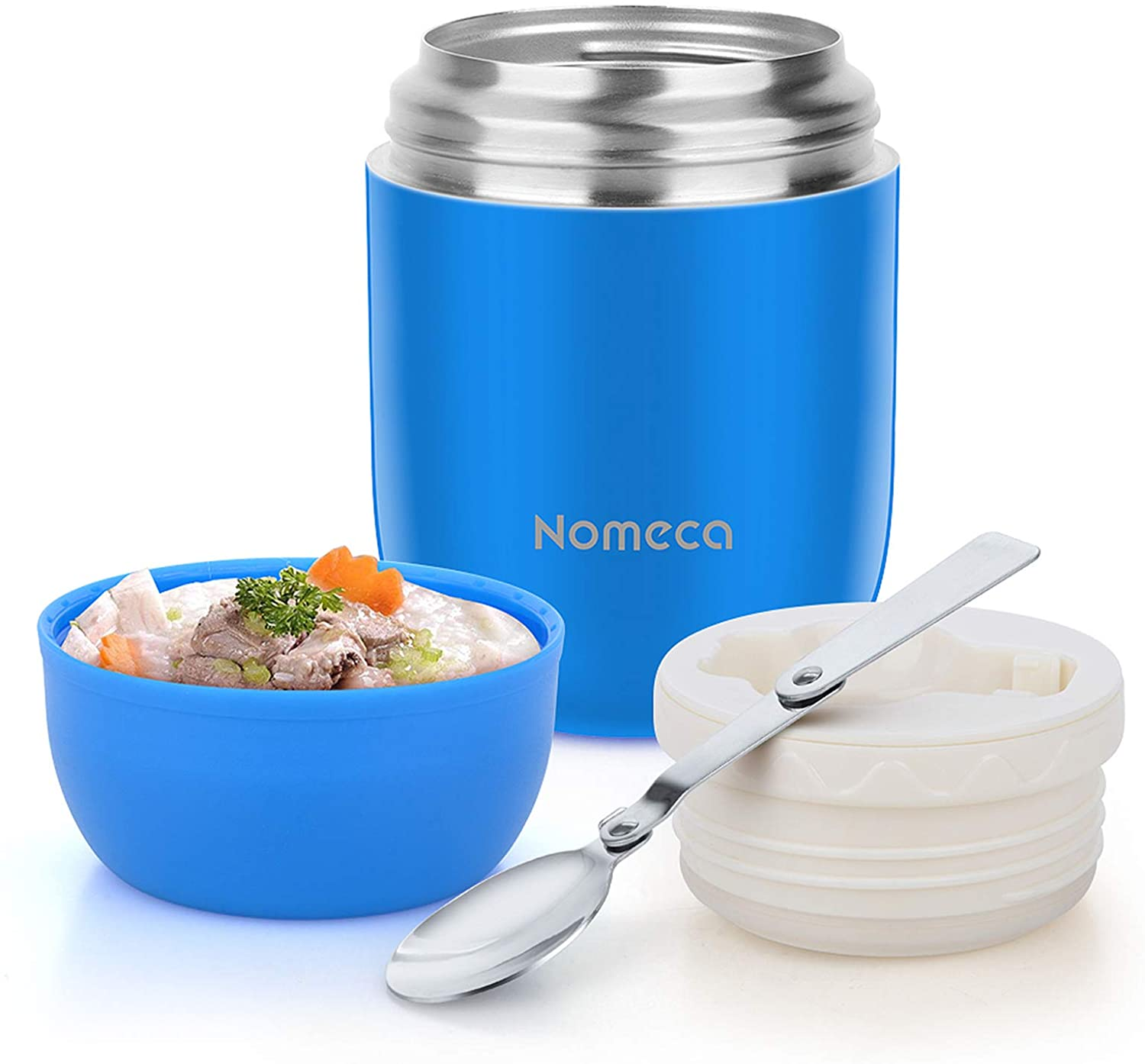 Insulated Lunch Container Hot Food Jar - Wide Mouth Thermoses for Hot Soup Nomeca 16Oz Vacuum Food Container Stainless Steel Thermal Soup Containers with Spoon for Kids Adult Gifts School Office, Blue