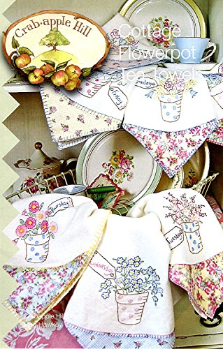 Cottage Flowerpot Tea Towels Embroidery Pattern by Meg Hawkey From Crabapple Hill Studio #232