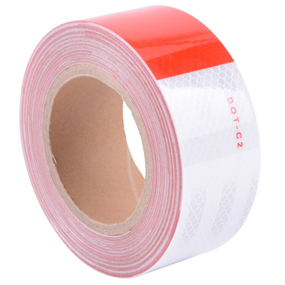 """Brightplus 2""""x 75' DOT Conspicuity Tape Dot Class 2 Reflective Tape Roll Red And White Adhesive Sticker For Cars, Trucks, Trailers, RV's, Campers, Boats, or Mailboxes"""