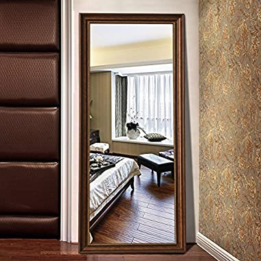 The Christmas Deal! H&A Rectangle Full Length Bedroom Floor Mirror, Wood Finished Frame Dressing Mirror, 65 x27  (Bronze)