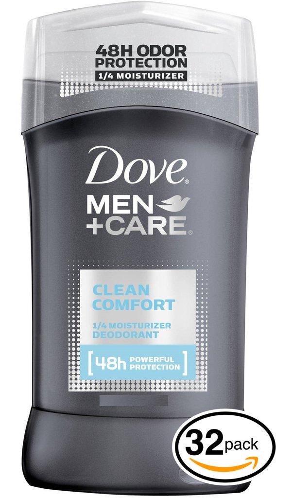 (PACK OF 32 STICKS) Dove MEN+CARE Clean Comfort Dry Solid Stick Antiperspirant & Deodorant. 48 HOUR ODOR PROTECTION! Non-Irritant! (32 Sticks, 2.7oz each Stick)