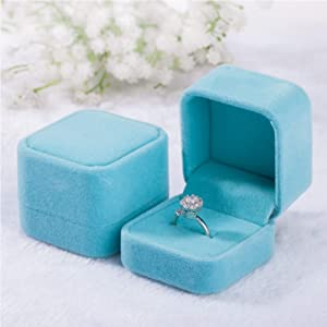 Tianying 2 Pack Velvet Ring Boxes, Earring Pendant Jewelry Case, Ring Earrings Gift Boxes, Jewellry Display (Blue, Ring Box)