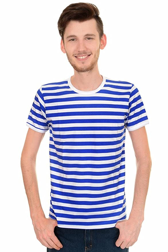 1920s Men's Dress Shirts  Royal & White Striped Short Sleeve T Shirt $22.95 AT vintagedancer.com