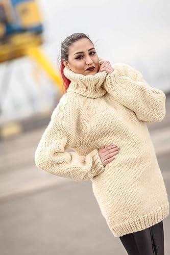 e2f26afd88 Amazon.com  Hand Knit 100% Gray Wool Sweater