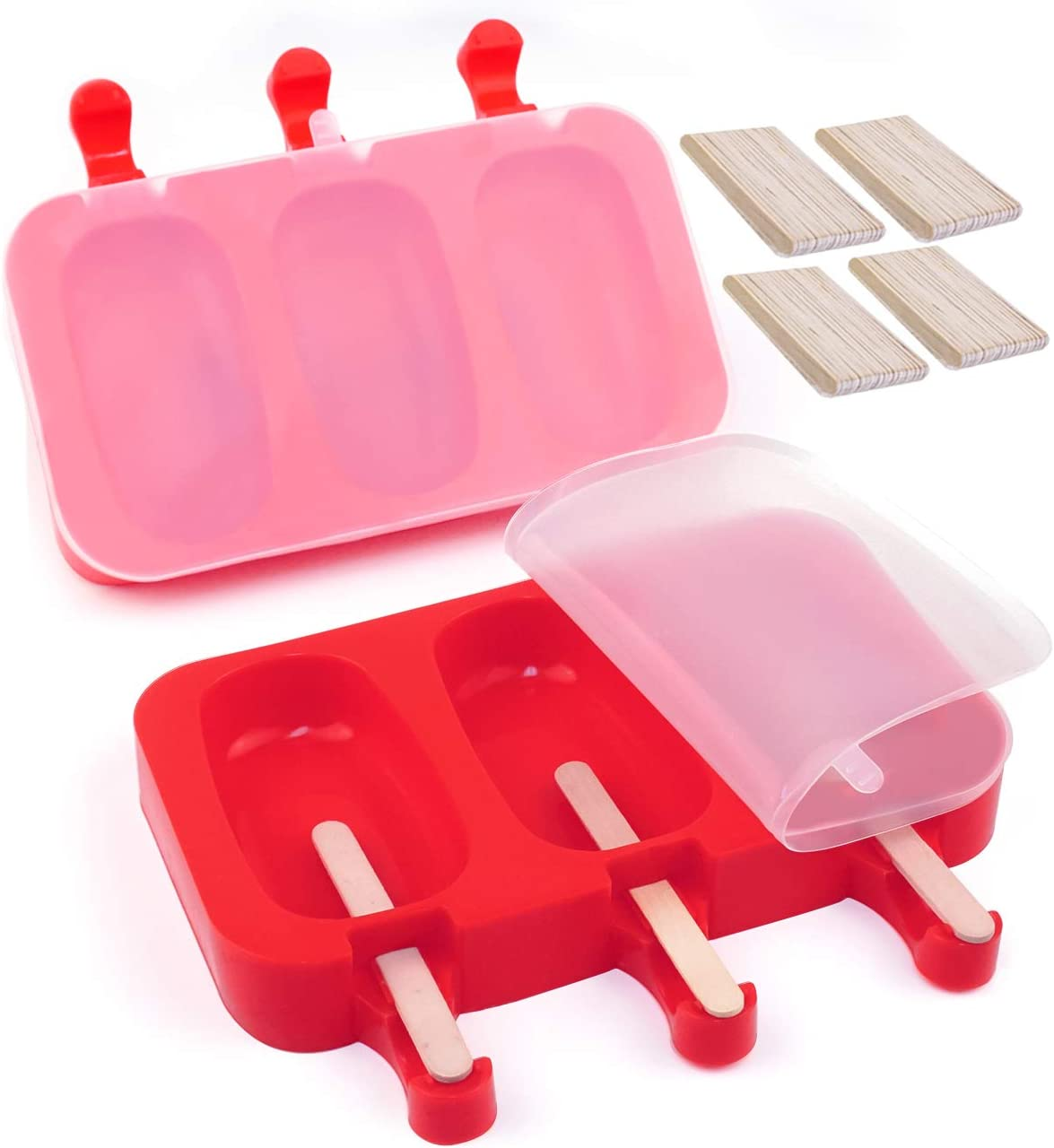 LERTREE 12-Cavity Frozen Ice Cream Pop Mold Silicone Popsicle Maker Lolly Mould with 100 Sticks for Kids Kitchen Cake Tools