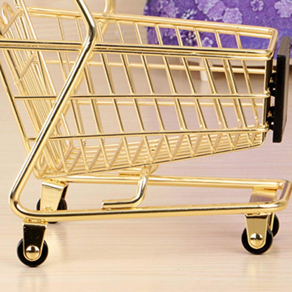 wgg Mini Shopping Cart Supermarket Handcart Trolley Childrens Toys Creative Storage Tools Gold, Fan-Shaped Table Office Novelty Decoration