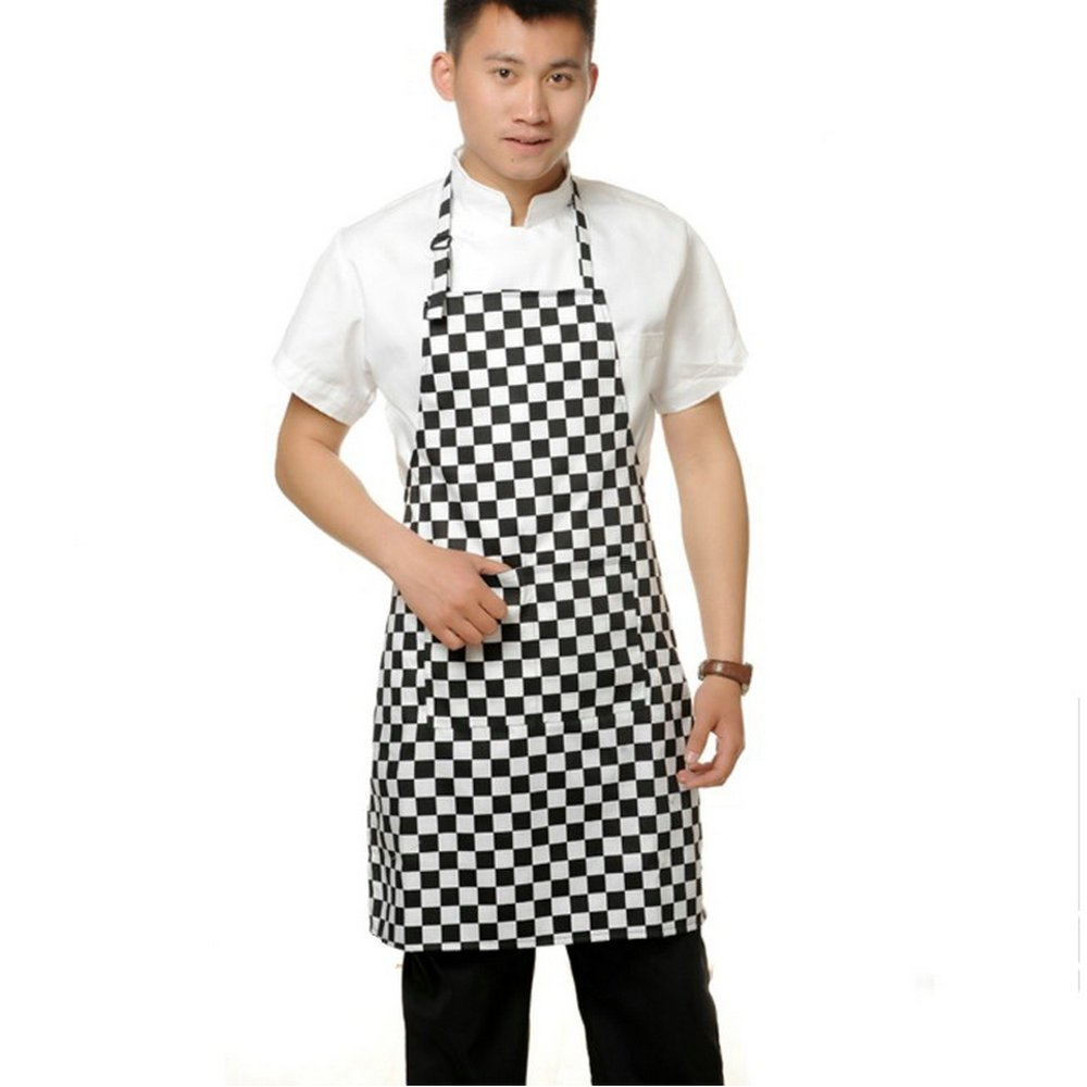 Ayygiftideas Classic Chef Works Apron With Pockets Black White Checked Adjustable Unisex Apron For Home Hotel Restaurant Bar Club