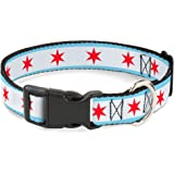"Buckle-Down Plastic Clip Collar - Chicago Flag - 1/2"" Wide - Fits 9-15"" Neck - Large"