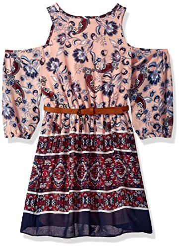 My Michelle Big Girls' Cold Shoulder Print Dress, Blush, 8 (Michelle My Clothes)
