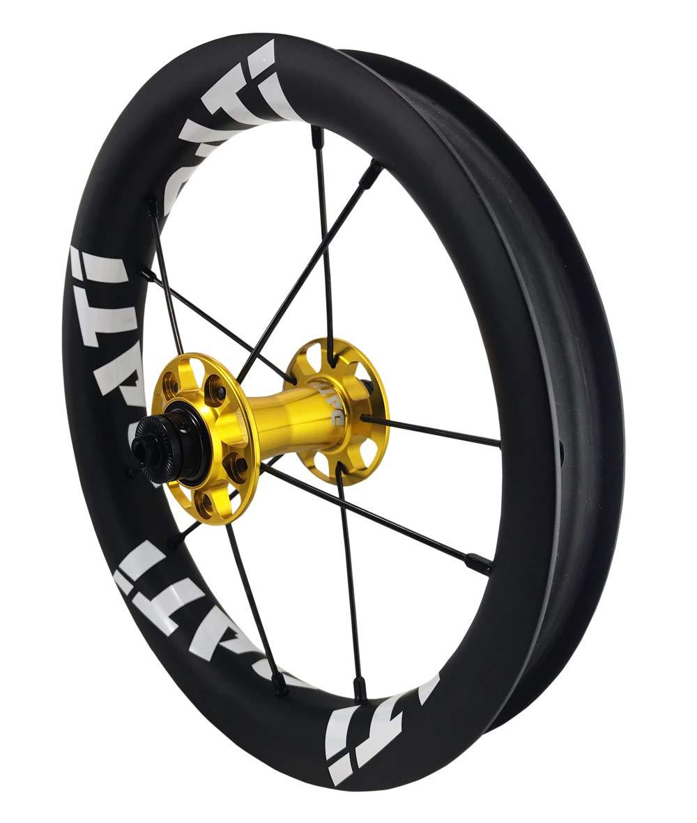 DATI 12インチ S8C-SCW Race series professional (炭素繊維 リム) レース レベル. 低抵抗.スムーズ.バランスバイク Kids Balance Bike Bicycle Super light 子供自転車ホイール 204g/wheel B07LCLMKXK BIXBI PUKY: 90*10MM|Gold/White logo Gold/White logo BIXBI PUKY: 90*10MM
