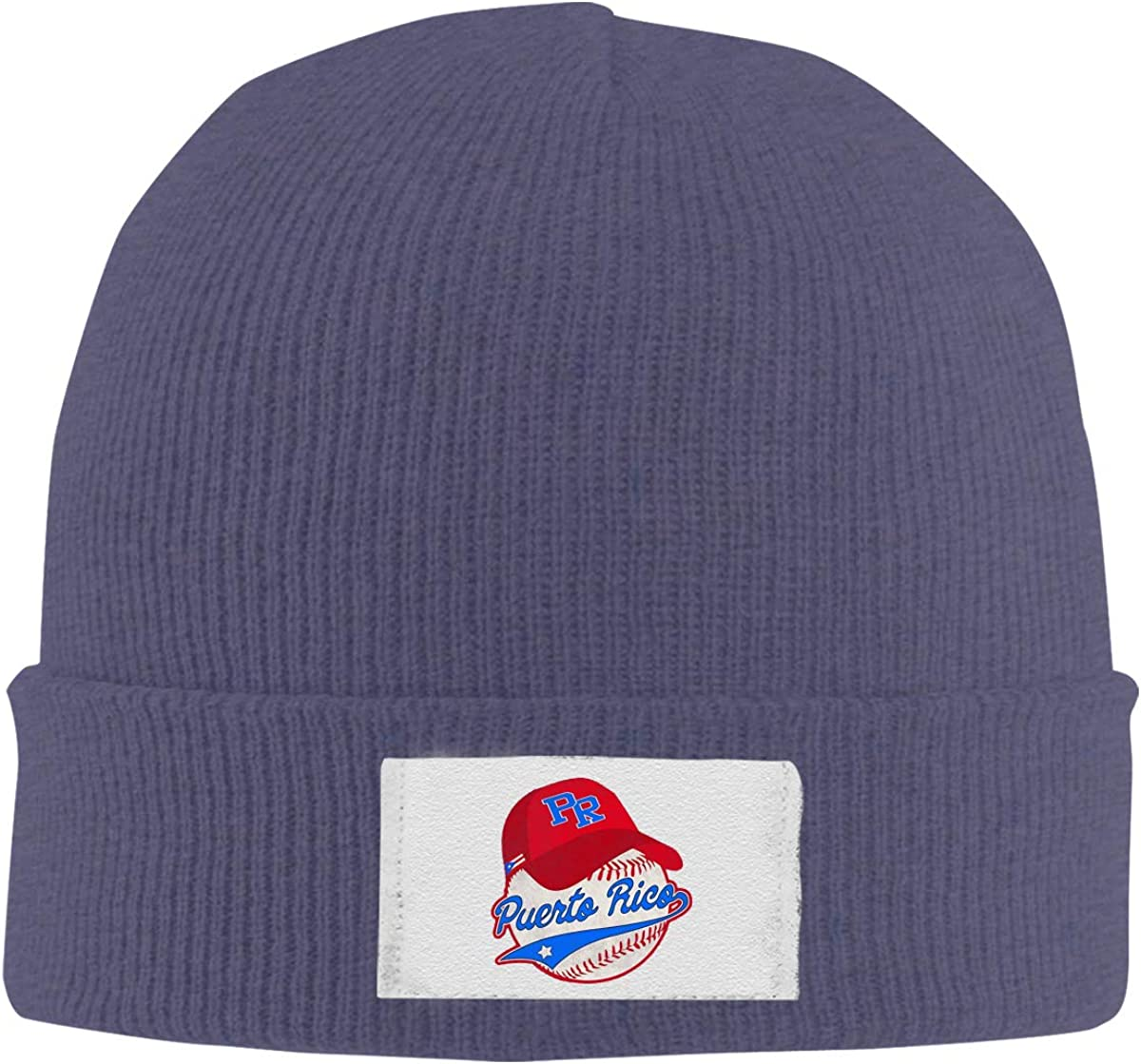 Stretchy Cuff Beanie Hat Black Skull Caps Puerto Rico Winter Warm Knit Hats