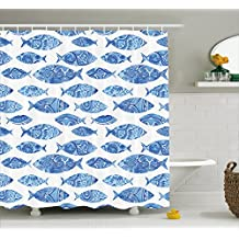 Ambesonne Ocean Animal Decor Shower Curtain by, Fish Figures with Ancient Ottoman Ornate Mosaic Hand Drawn Marine Artwork, Fabric Bathroom Decor Set with Hooks, 70 Inches, Blue