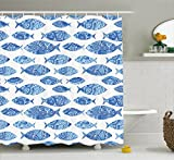 Fish Shower Curtain Ambesonne Ocean Animal Decor Shower Curtain by, Fish Figures with Ancient Ottoman Ornate Mosaic Hand Drawn Marine Artwork, Fabric Bathroom Decor Set with Hooks, 70 Inches, Blue