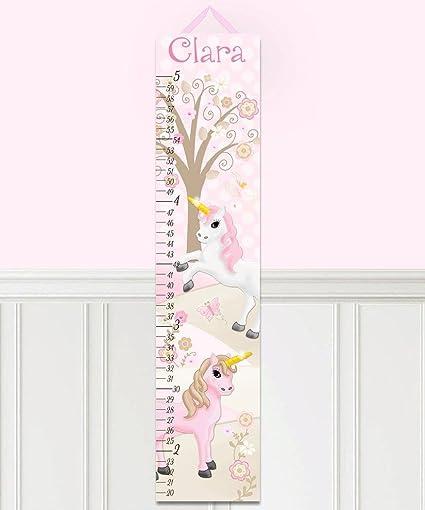 Amazon Canvas Growth Chart Pink Princess Unicorn Patterns Kids